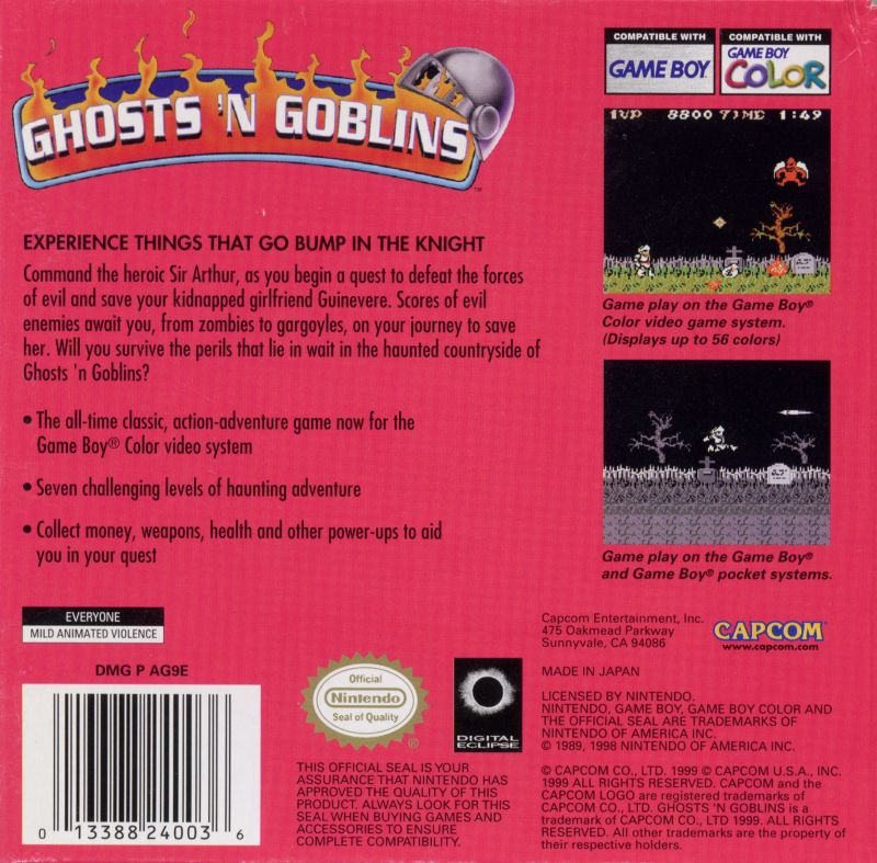 Ghosts 'N Goblins Game Boy Color Back Cover