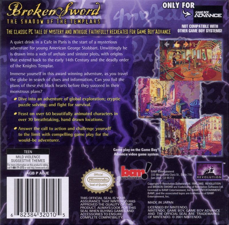 Circle of Blood Game Boy Advance Back Cover