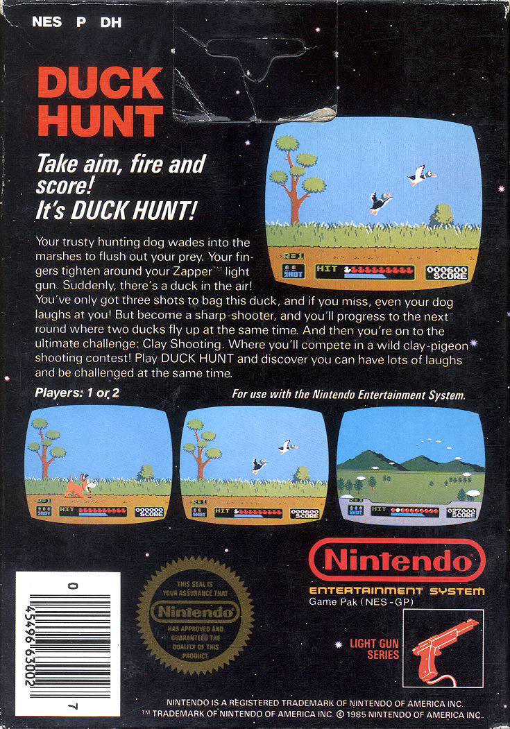 Duck Hunt NES Back Cover