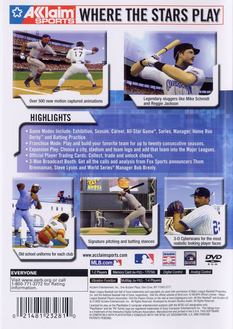 All-Star Baseball 2003 PlayStation 2 Back Cover