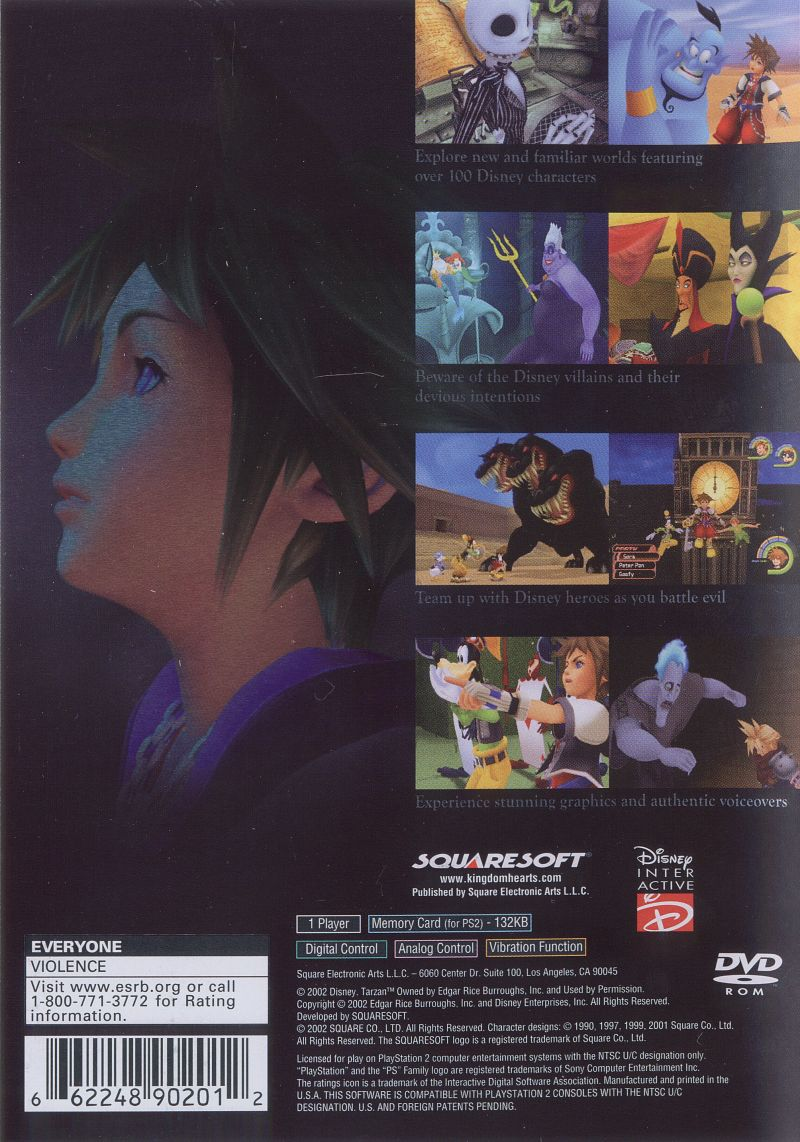 Kingdom Hearts PlayStation 2 Back Cover