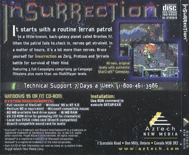 Insurrection: Campaigns for StarCraft Windows Other Jewel Case - Back