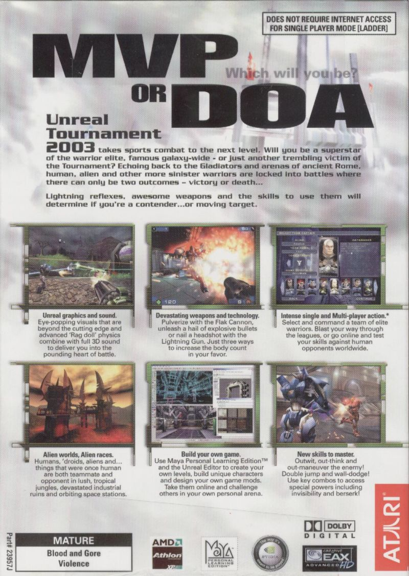 Unreal Tournament 2003 Windows Back Cover