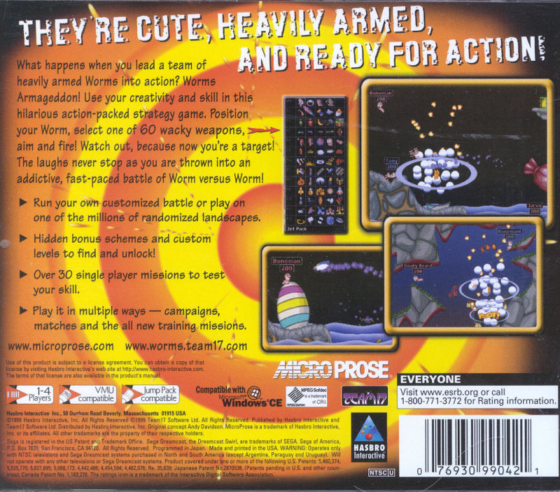 Worms Armageddon Dreamcast Back Cover
