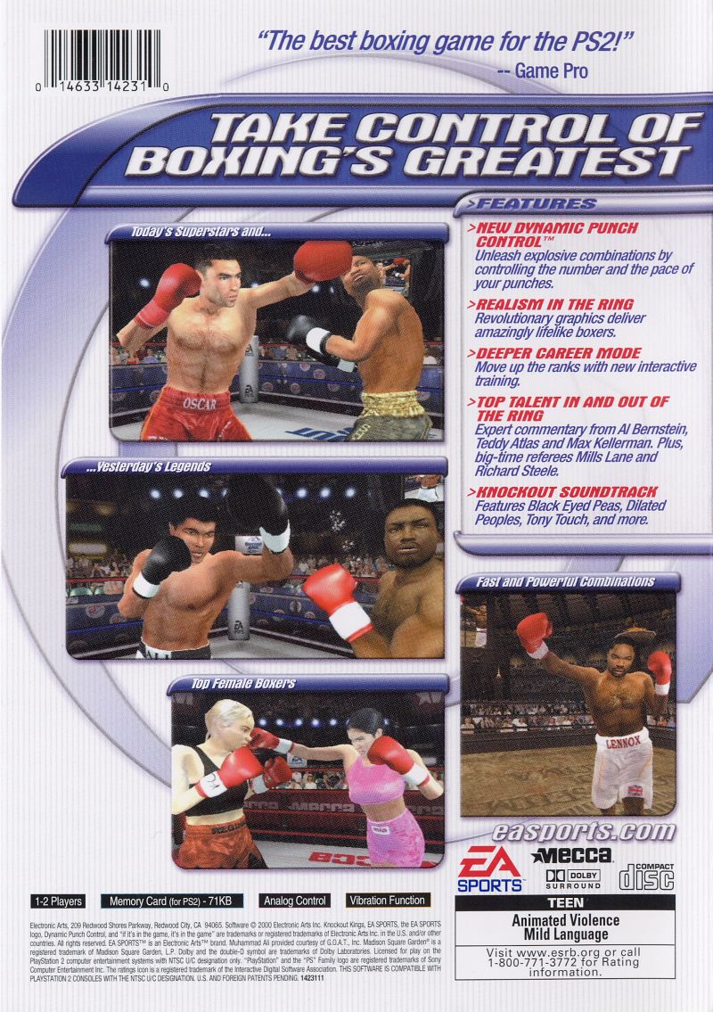 Knockout Kings 2001 PlayStation 2 Back Cover