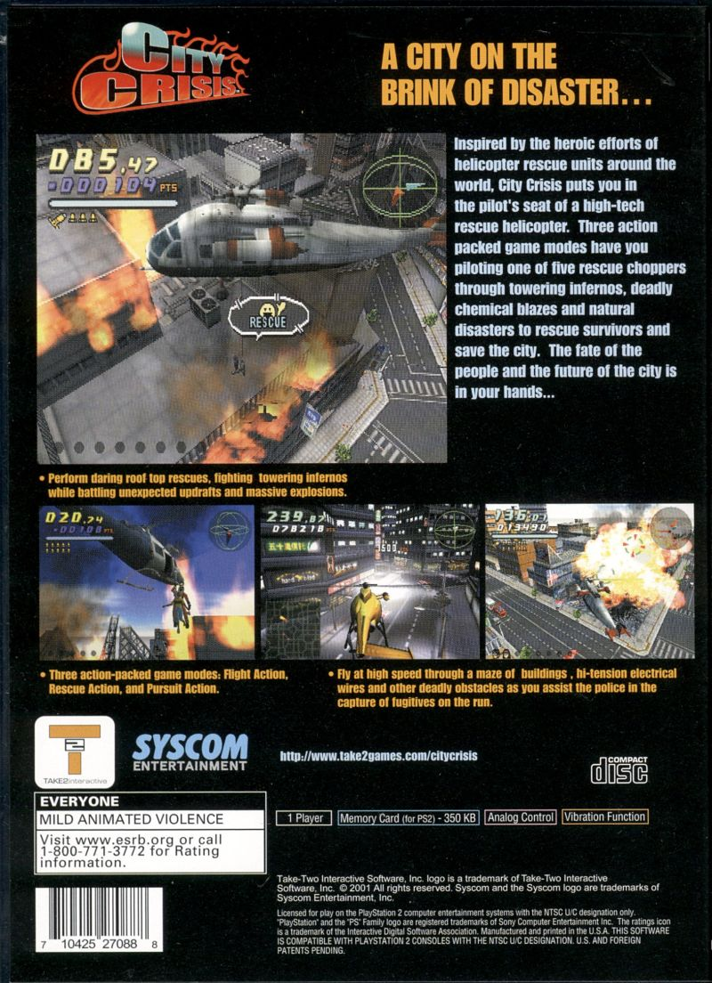 City Crisis PlayStation 2 Back Cover