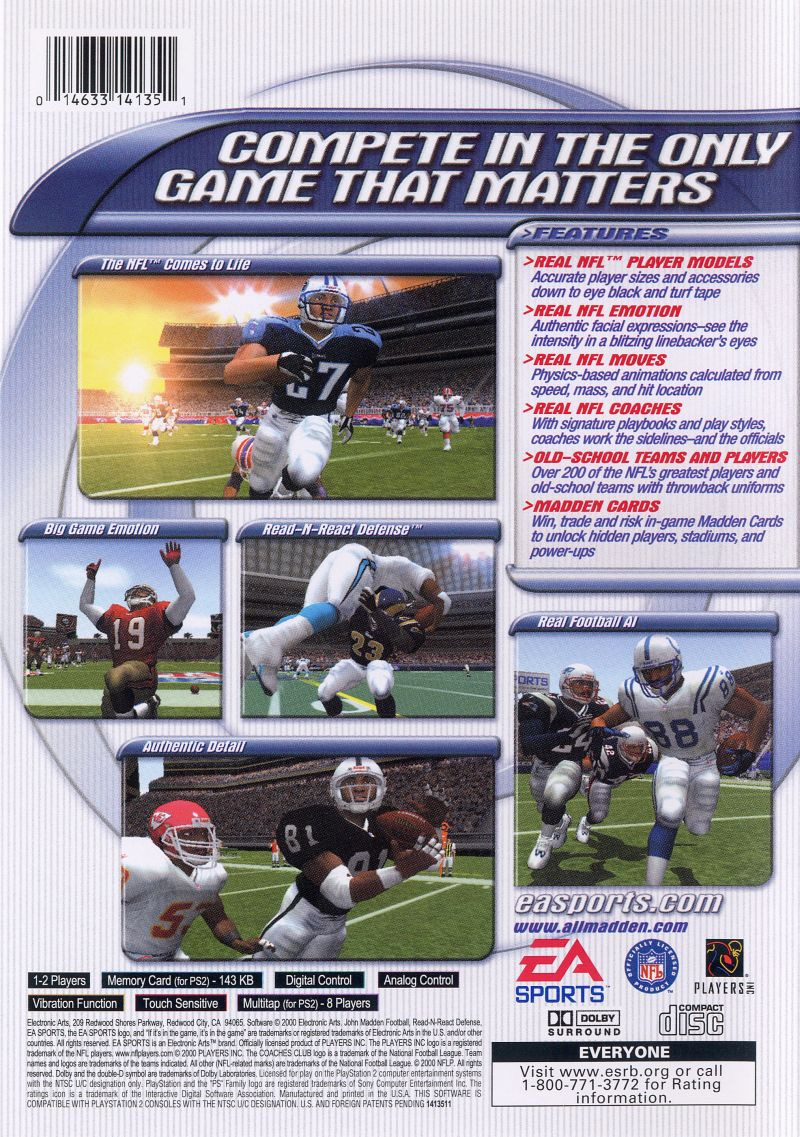 Madden NFL 2001 PlayStation 2 Back Cover