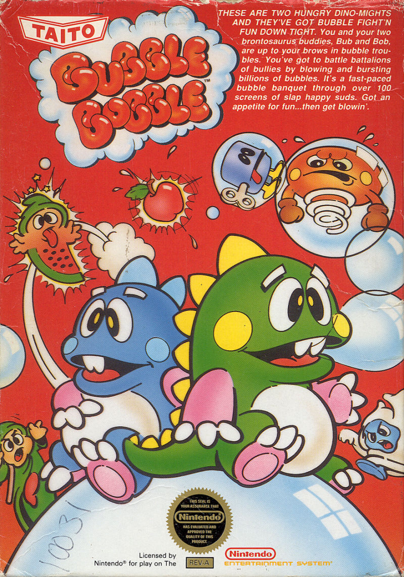 Bubble Bobble NES Front Cover