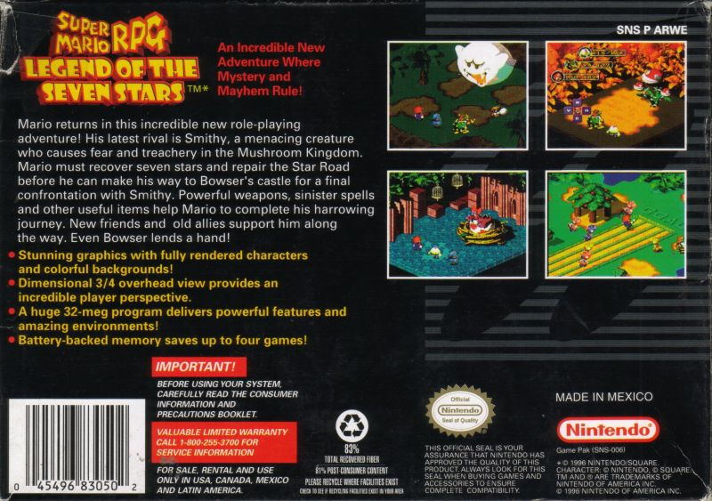 Super Mario RPG: Legend of the Seven Stars SNES Back Cover