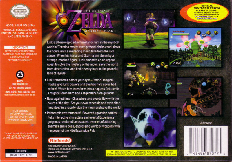 The Legend of Zelda: Majora's Mask Nintendo 64 Back Cover