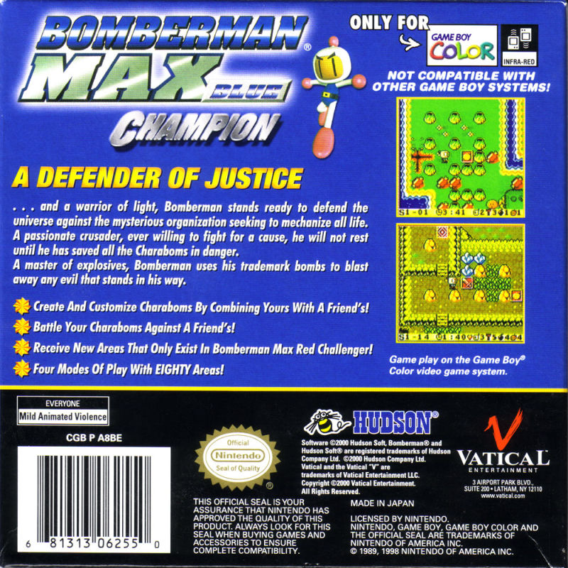 Bomberman Max: Blue Champion Game Boy Color Back Cover
