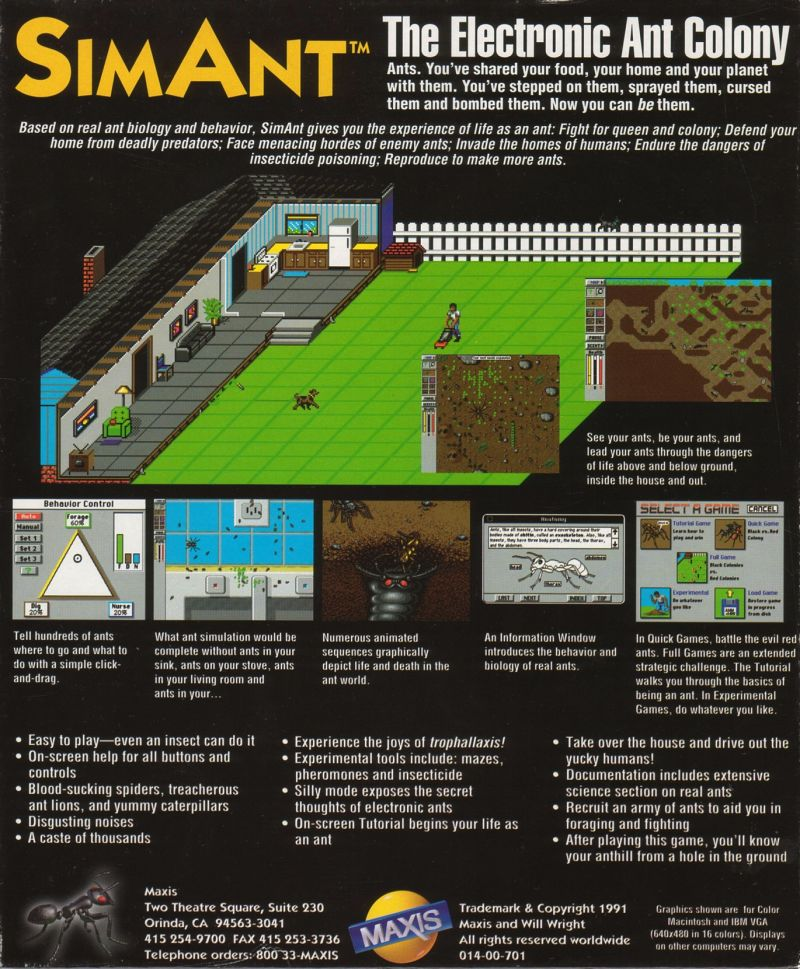 SimAnt: The Electronic Ant Colony Amiga Back Cover