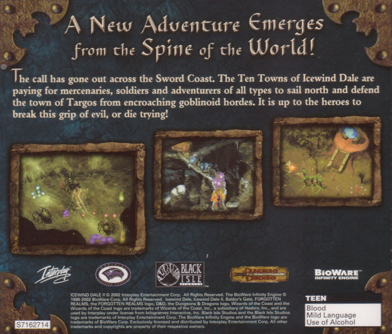 Icewind Dale II Windows Other Jewel Case - Back