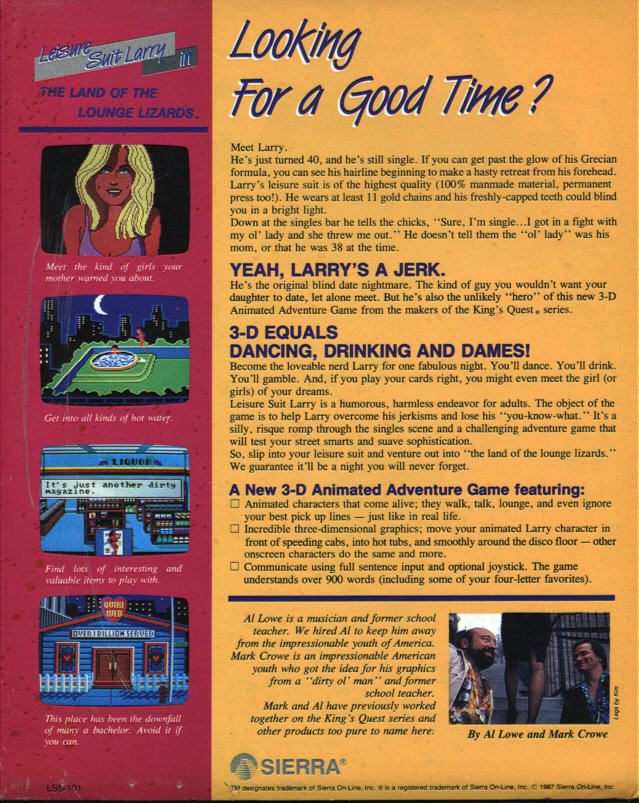Leisure Suit Larry in the Land of the Lounge Lizards Atari ST Back Cover