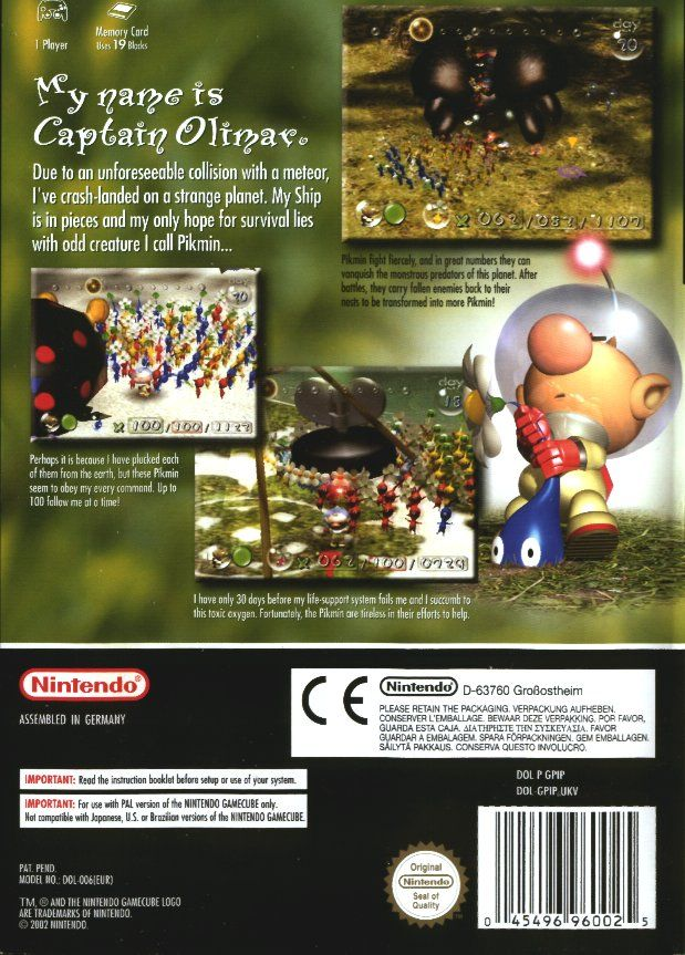 Pikmin GameCube Back Cover