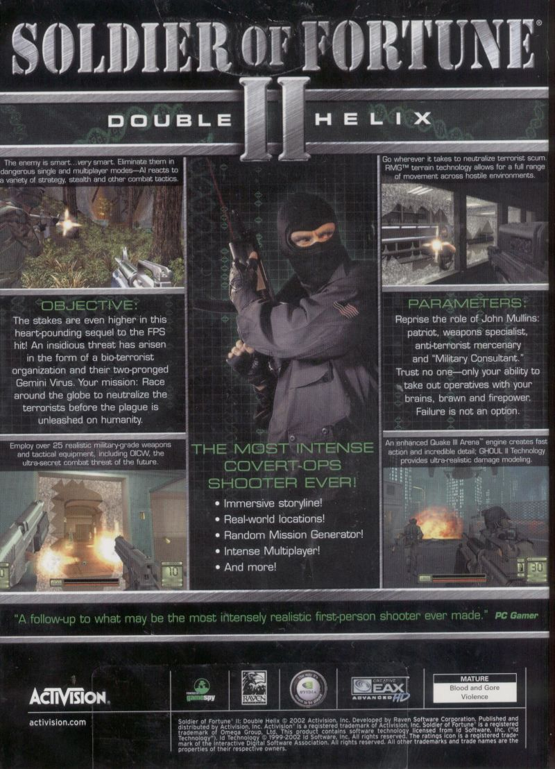 Soldier of Fortune II: Double Helix Windows Back Cover