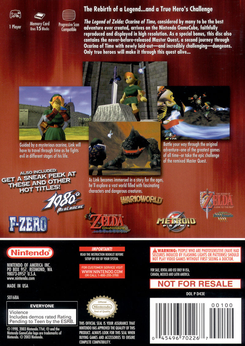 The Legend of Zelda: Ocarina of Time / Master Quest  GameCube Back Cover