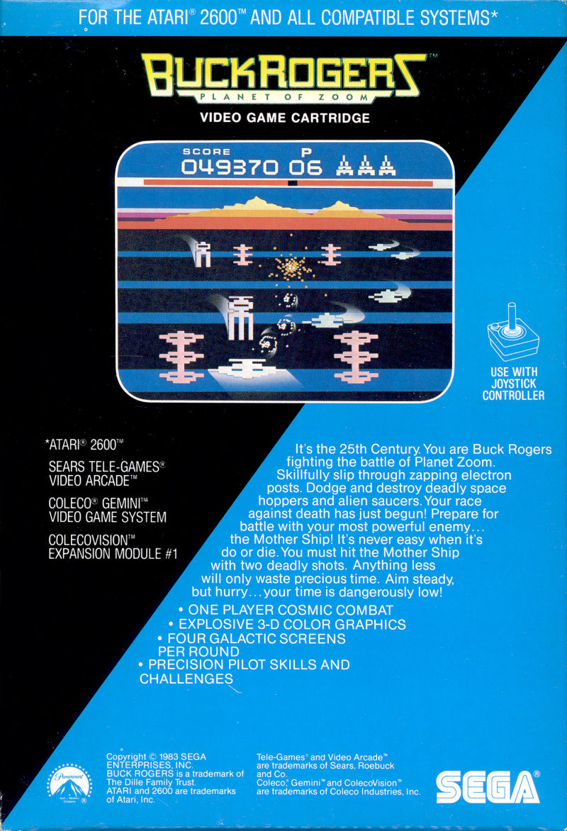 Buck Rogers: Planet of Zoom Atari 2600 Back Cover