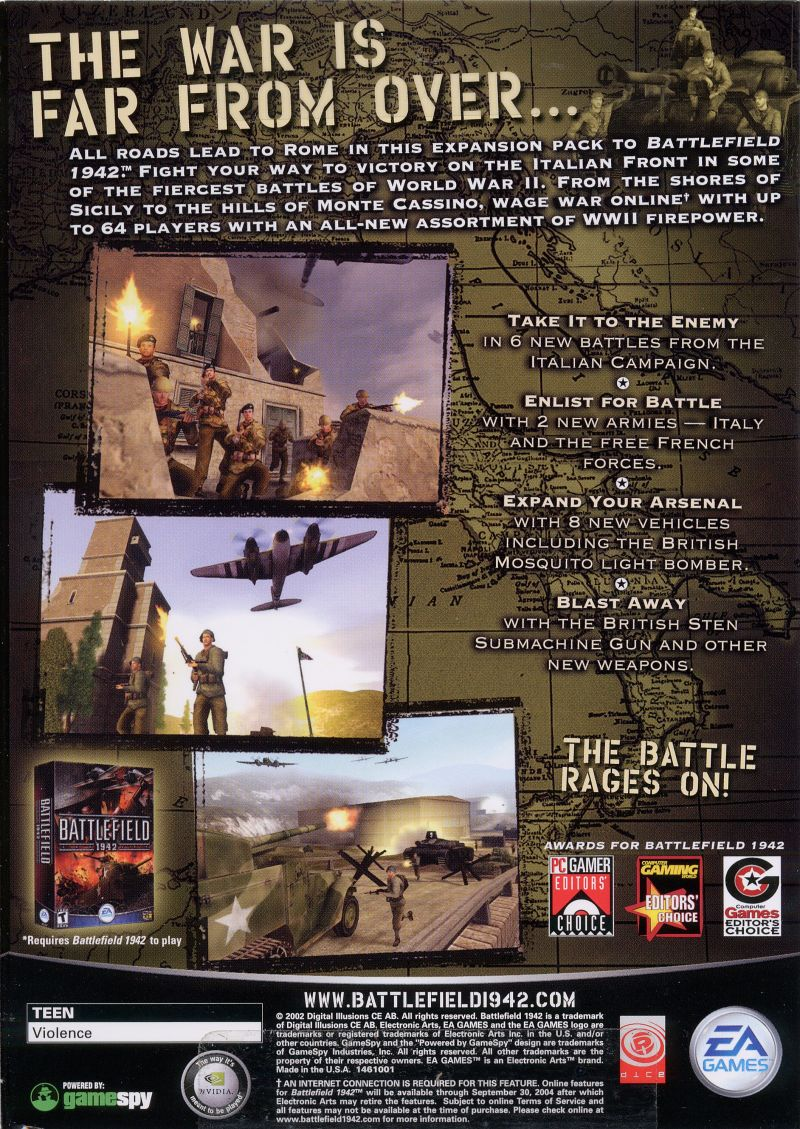 Battlefield 1942: The Road to Rome Windows Back Cover