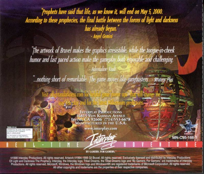 Of Light and Darkness: The Prophecy Windows Other Jewel Case - Back