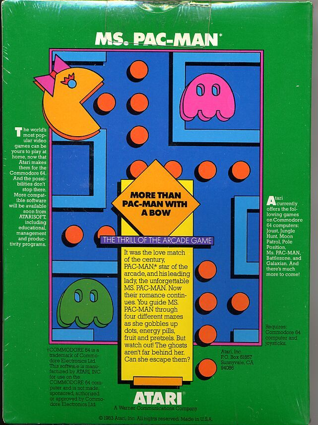 Ms. Pac-Man Commodore 64 Back Cover