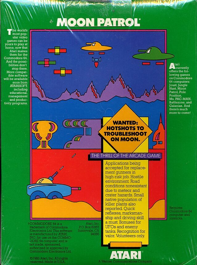Moon Patrol Commodore 64 Back Cover