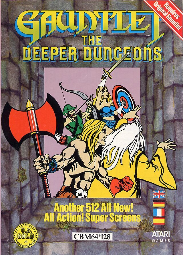 Gauntlet: The Deeper Dungeons Commodore 64 Front Cover