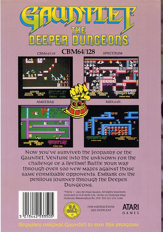 Gauntlet: The Deeper Dungeons Commodore 64 Back Cover