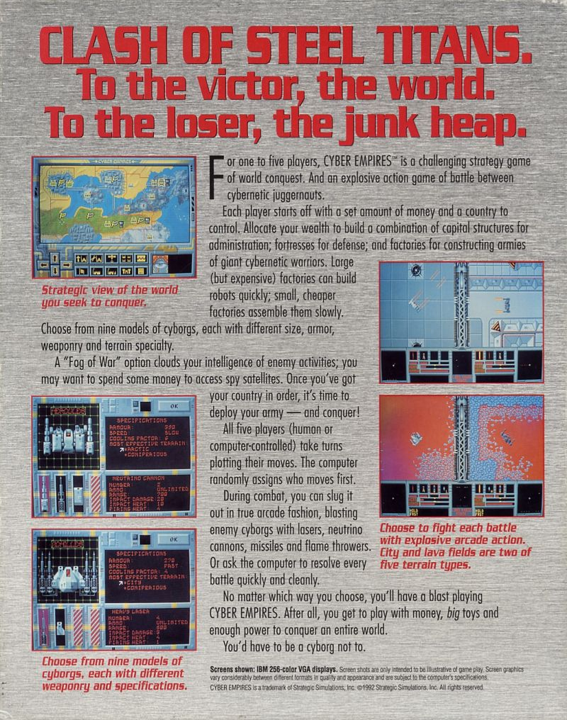 Cyber Empires DOS Back Cover