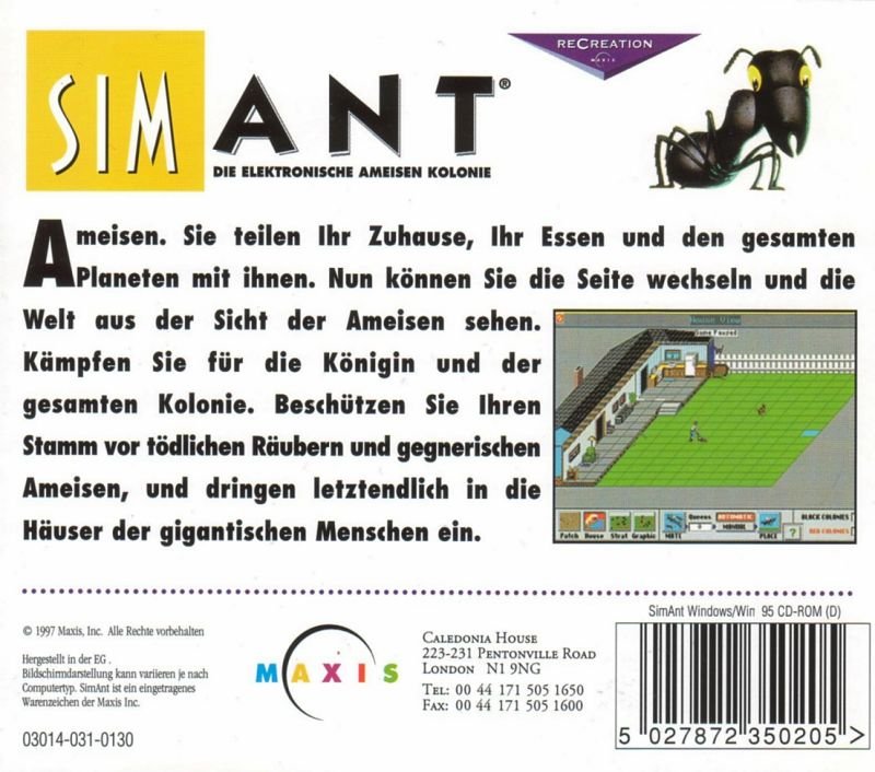 SimAnt: The Electronic Ant Colony Windows 3.x Other Jewel Case - Back
