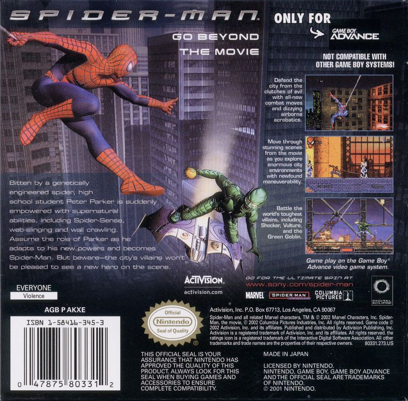 Spider-Man Game Boy Advance Back Cover