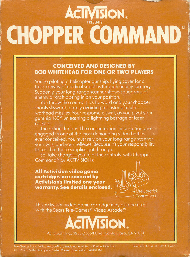 Chopper Command Atari 2600 Back Cover