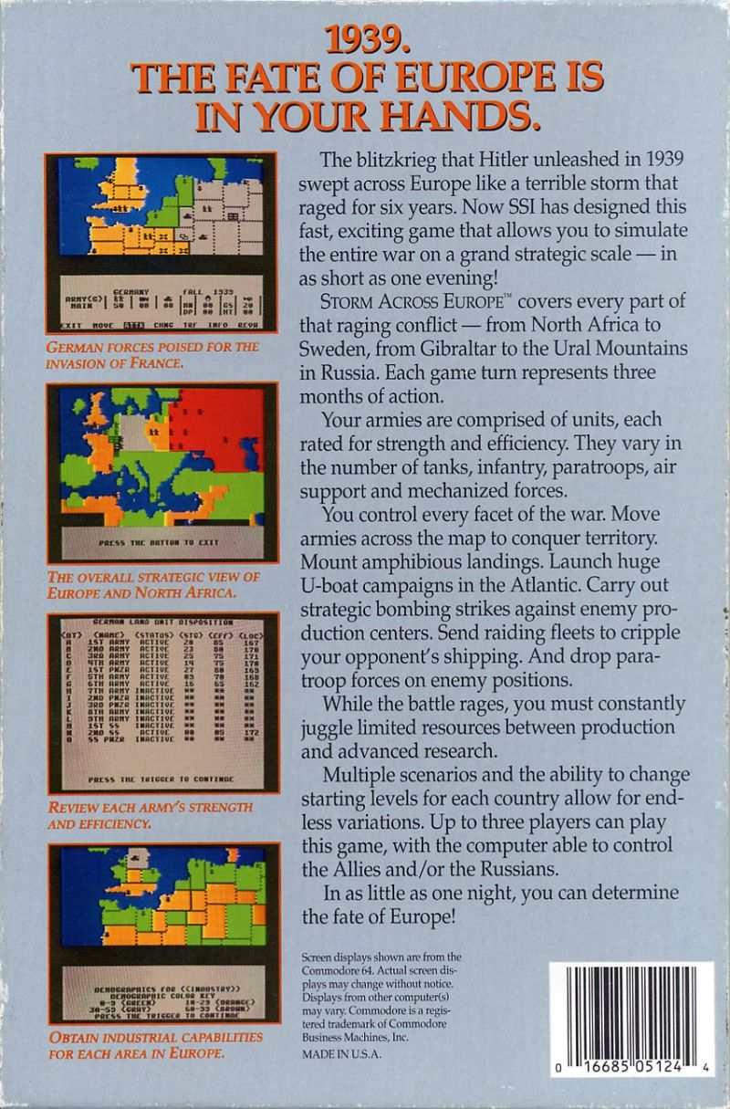 Storm Across Europe Commodore 64 Back Cover