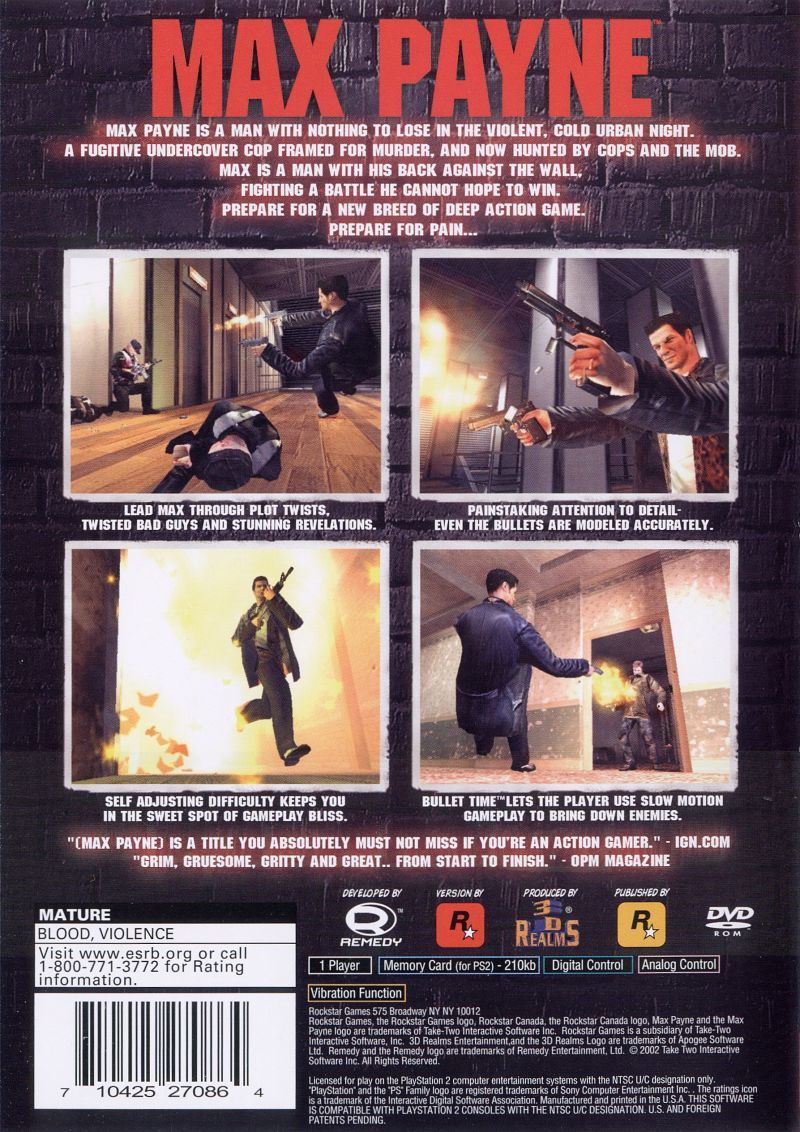 Max Payne PlayStation 2 Back Cover