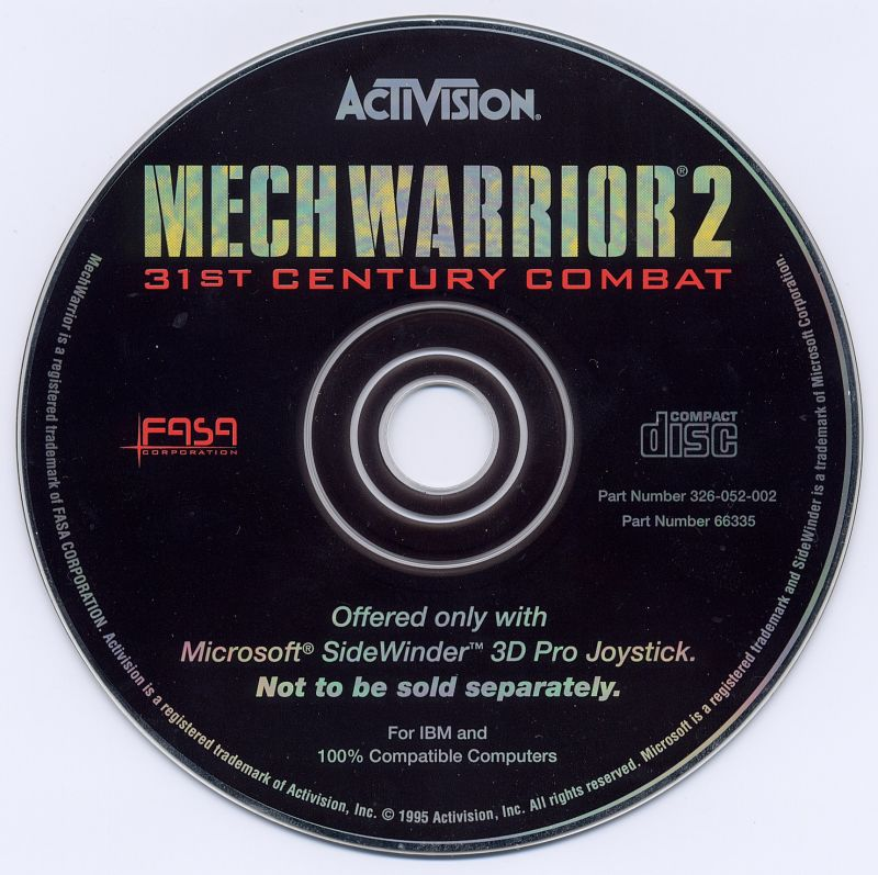 MechWarrior 2: 31st Century Combat DOS Media