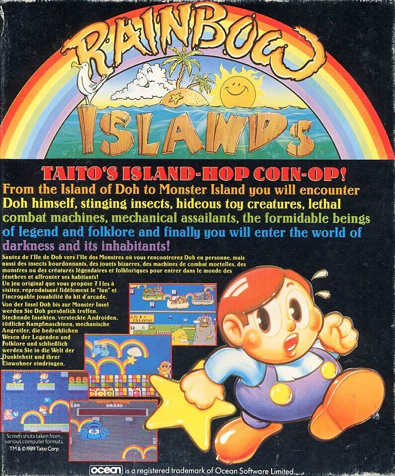 Rainbow Islands Commodore 64 Back Cover