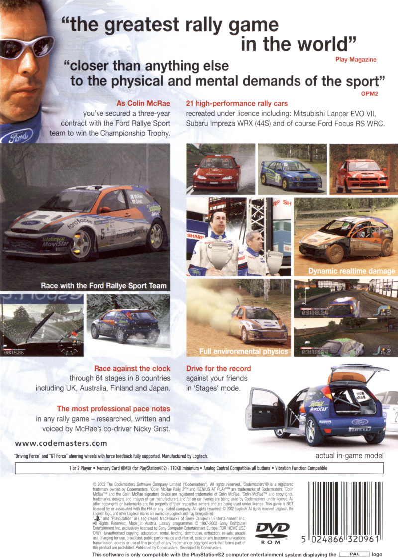 Colin McRae Rally 3 PlayStation 2 Back Cover