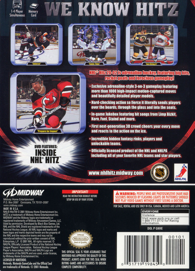 NHL Hitz 20-02 GameCube Back Cover