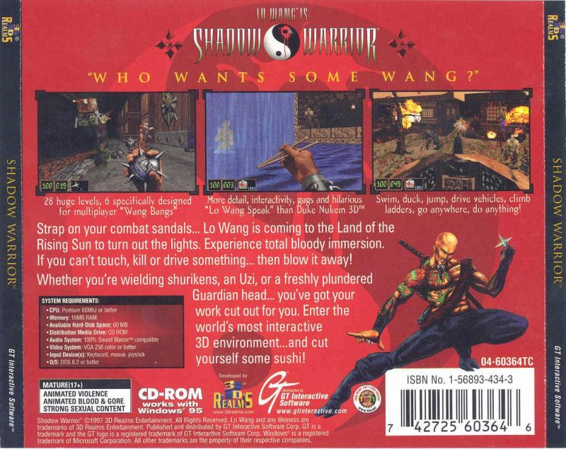 Shadow Warrior DOS Other Jewelcase Back cover