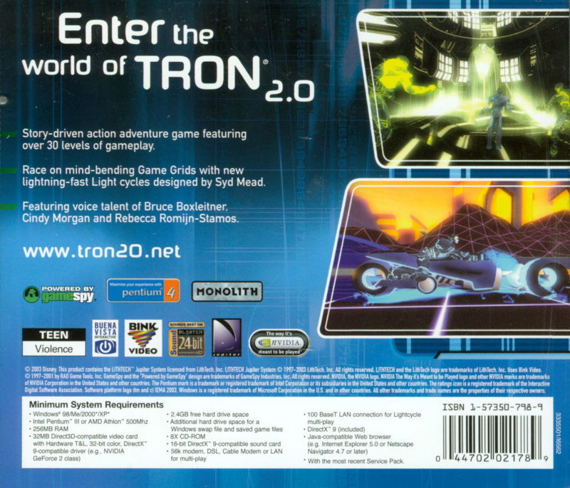 TRON 2.0 Windows Other Jewel Case - Back