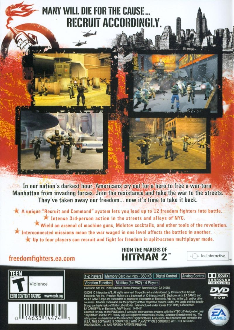 Freedom Fighters PlayStation 2 Back Cover