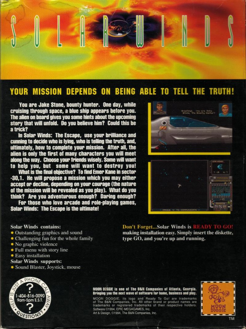 Solar Winds: The Escape DOS Back Cover