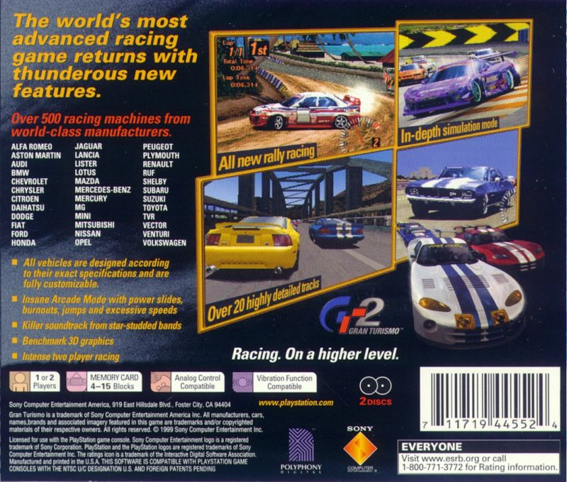 Gran Turismo 2 PlayStation Back Cover
