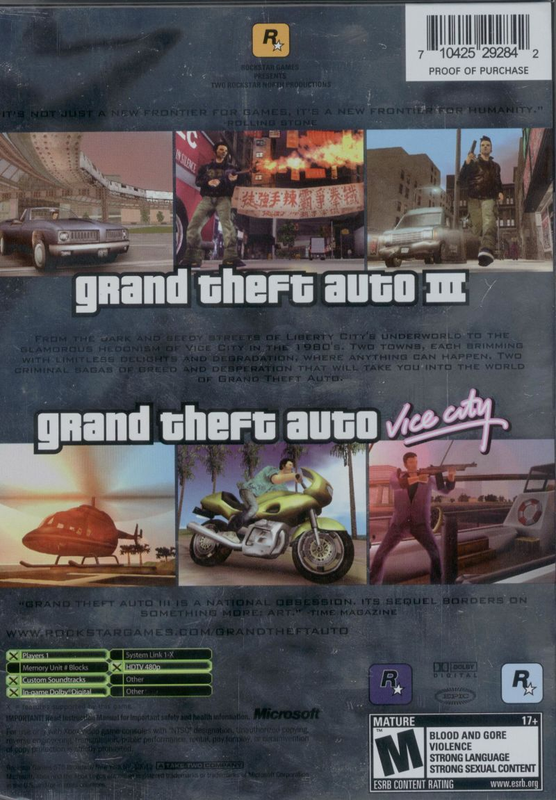 Rockstar Games Double Pack: Grand Theft Auto Xbox Back Cover