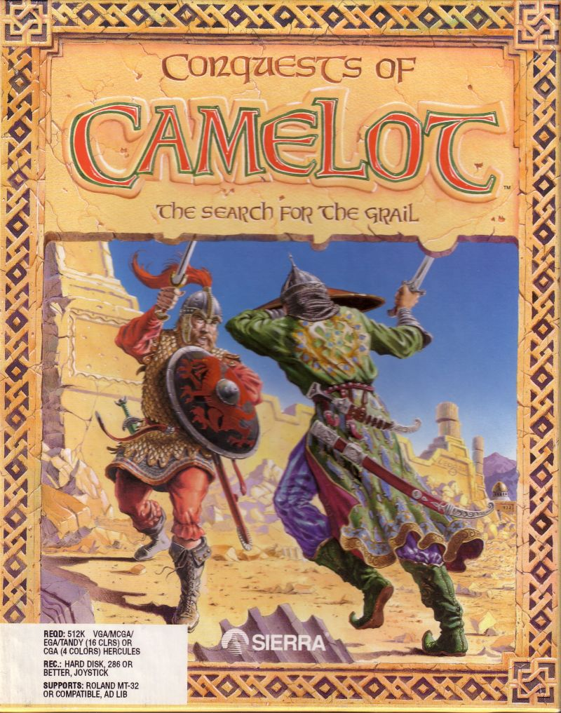 "Conquests of Camelot: The Search for the Grail DOS Front Cover US 3,5"" release"