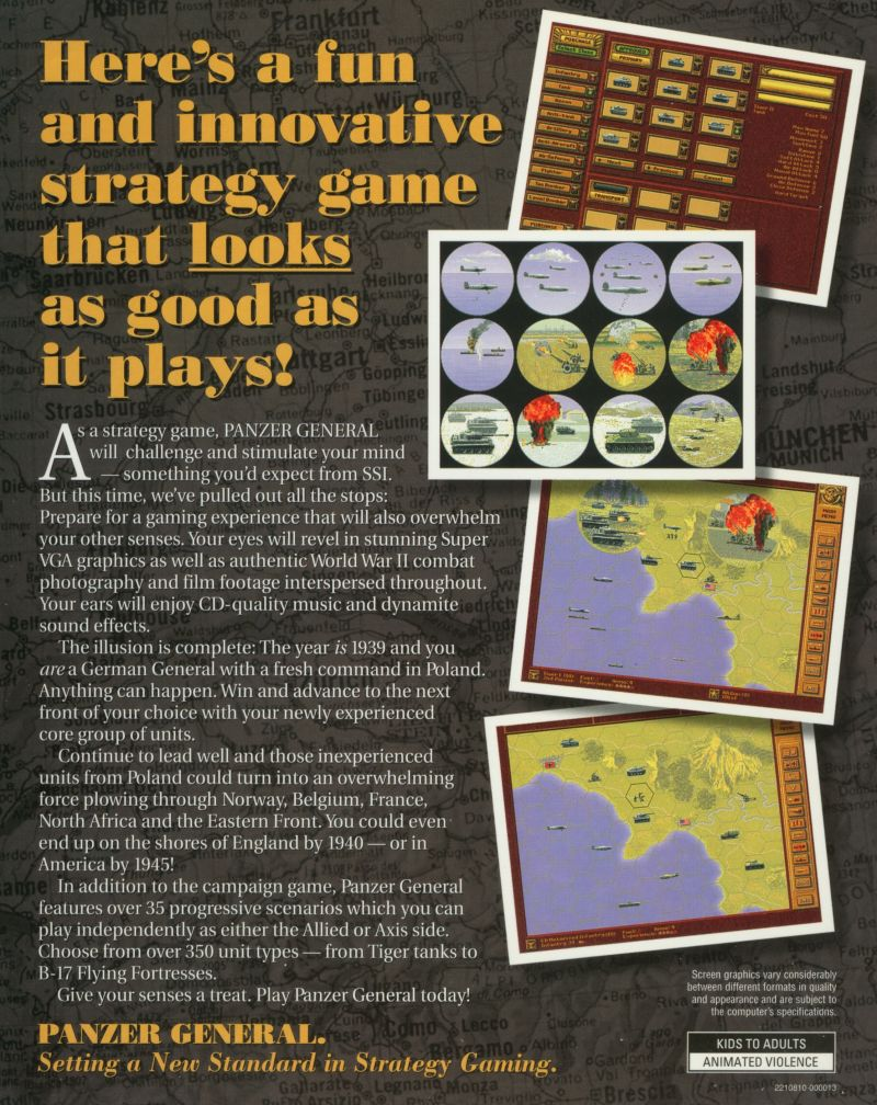Panzer General DOS Back Cover