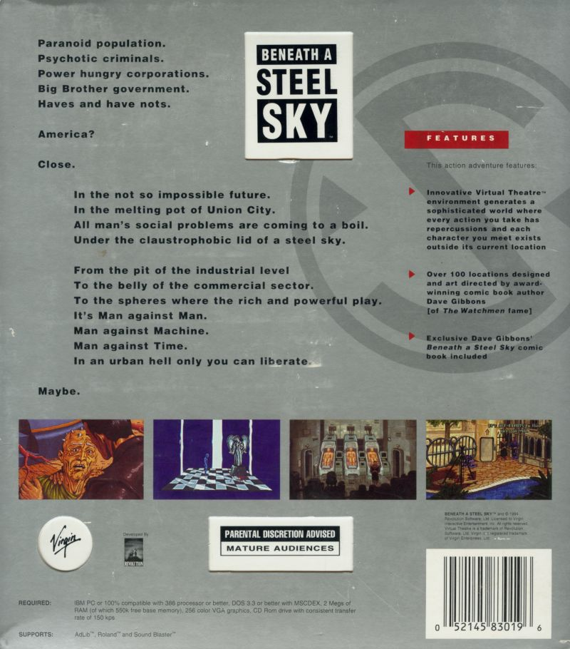 Beneath a Steel Sky DOS Back Cover