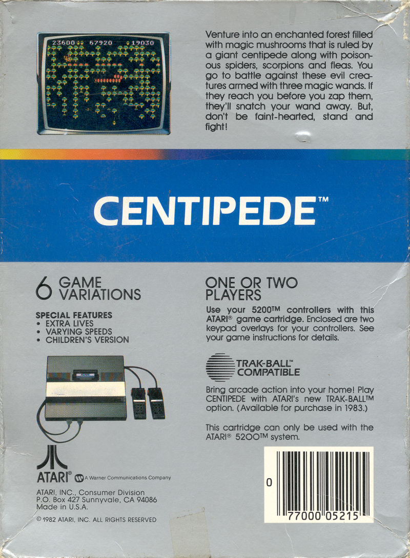 Centipede Atari 5200 Back Cover