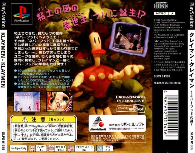 The Neverhood PlayStation Back Cover