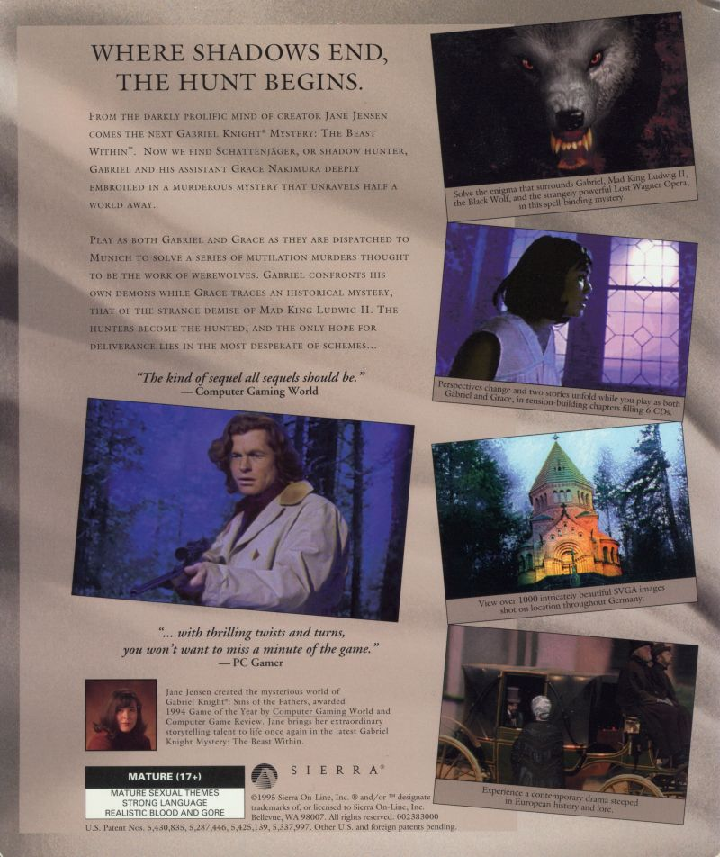 The Beast Within: A Gabriel Knight Mystery DOS Back Cover